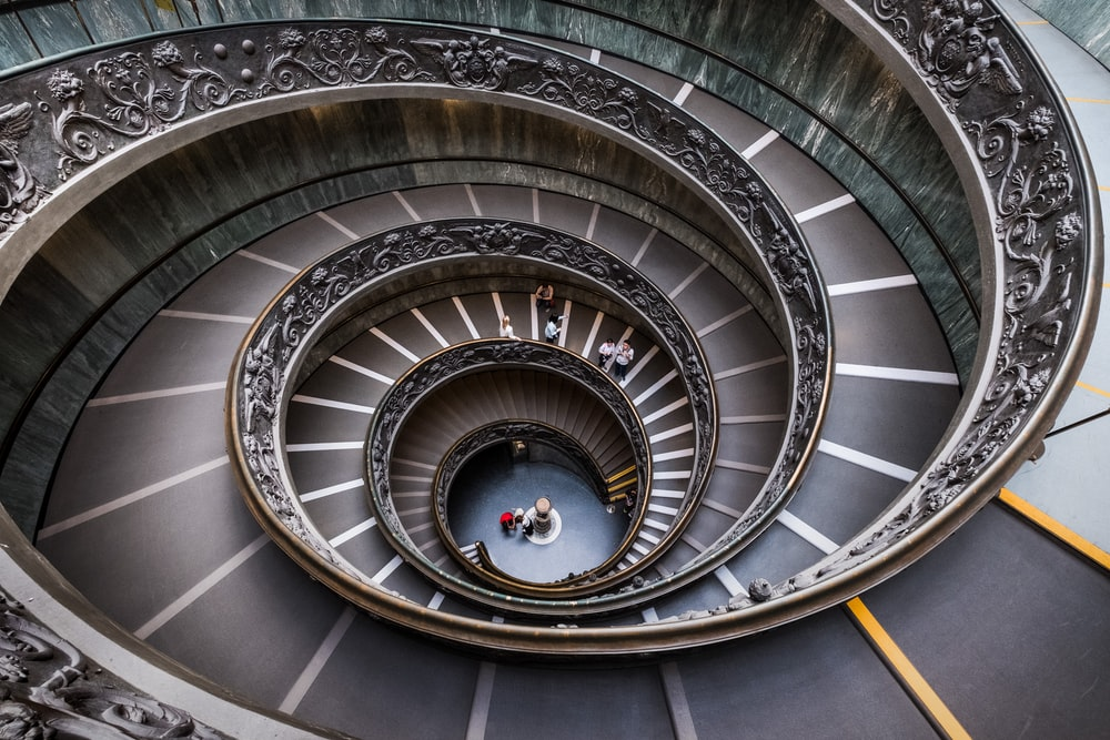 aerial view of spiral stairway building
