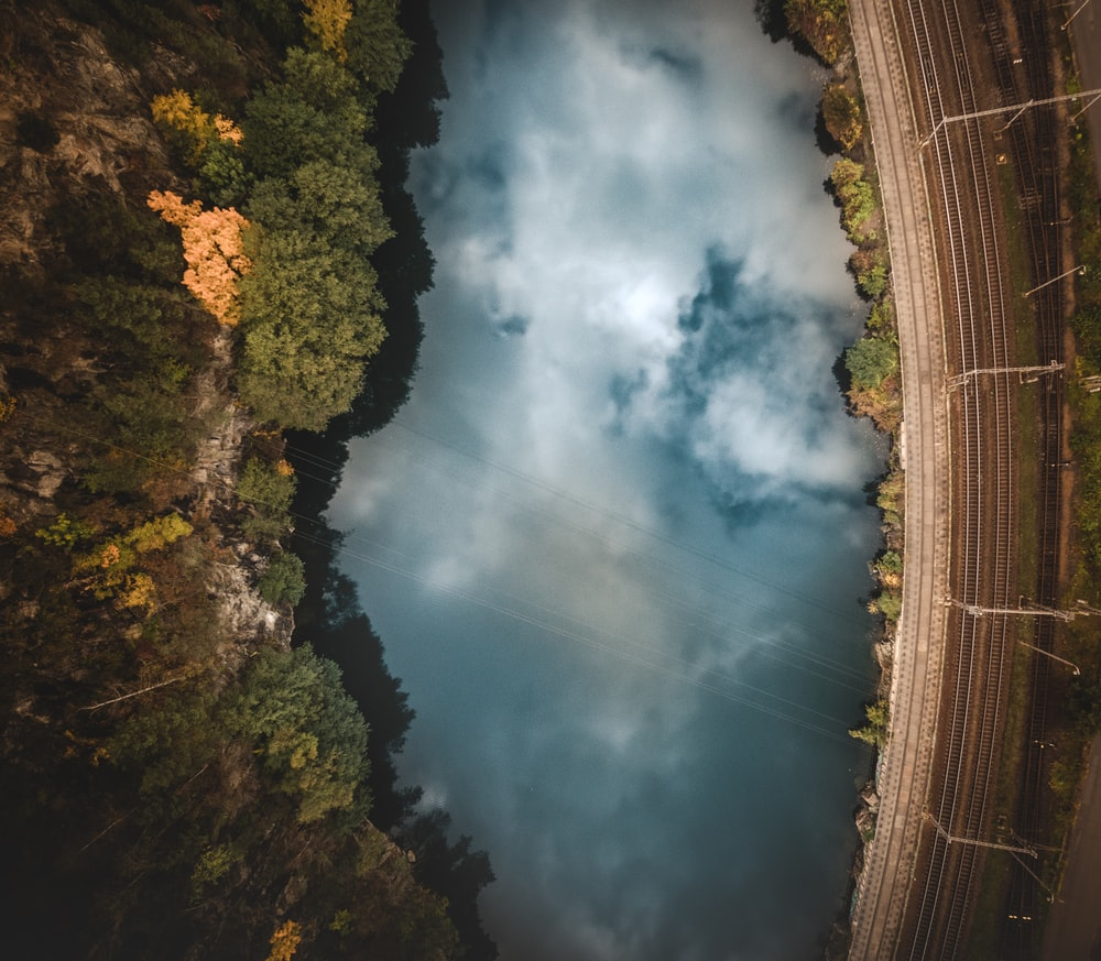 top-view photography of lake