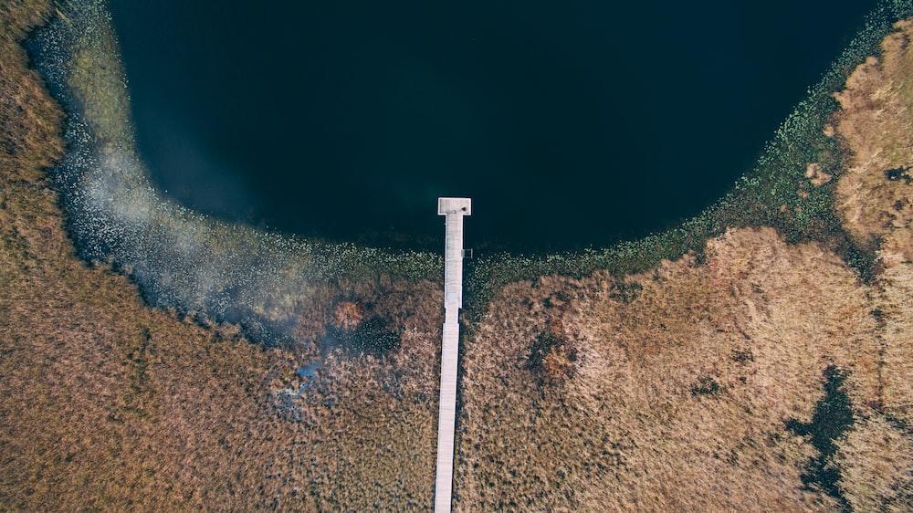 aerial photography of dock at lake