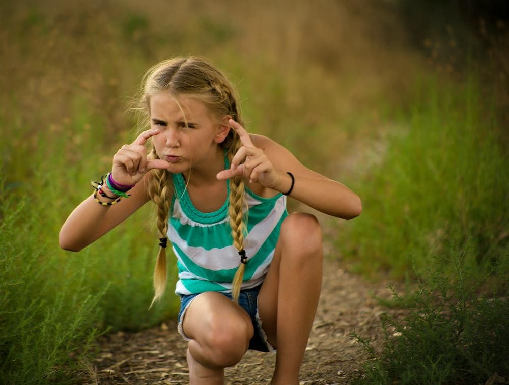 girl on grass field