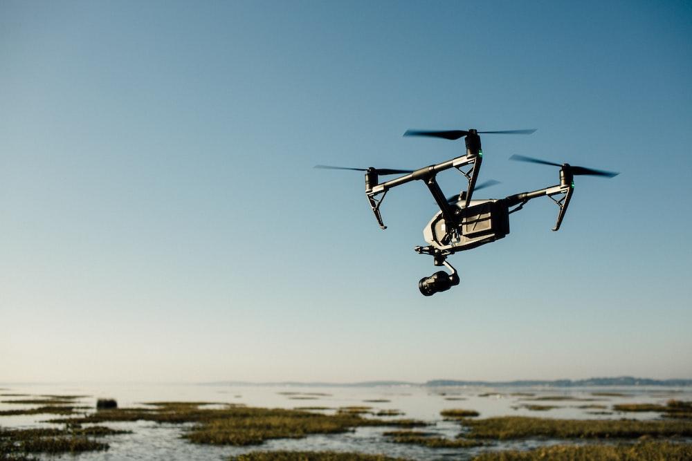 drone near beach photography