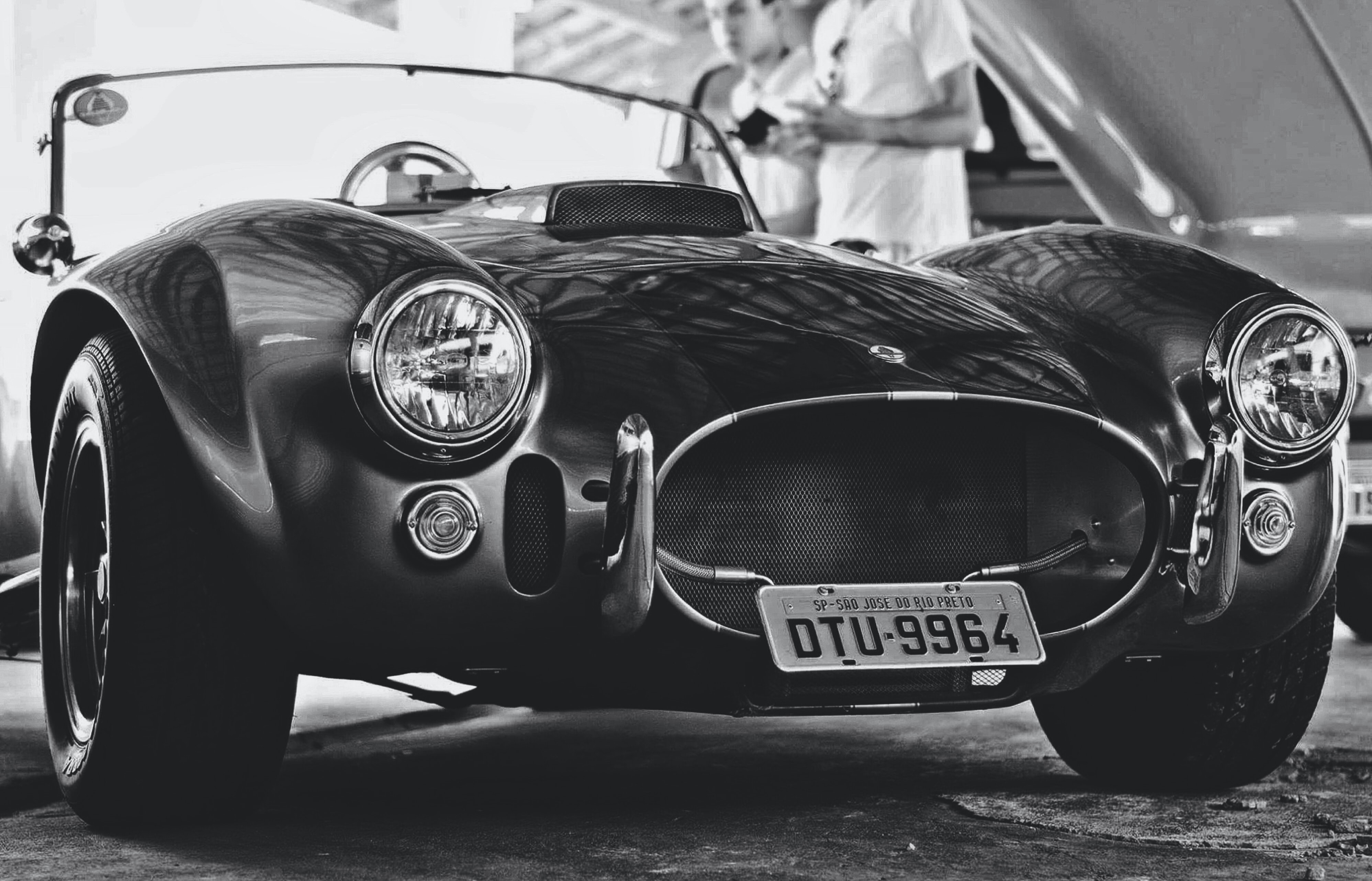 grayscale photography of sports coupe