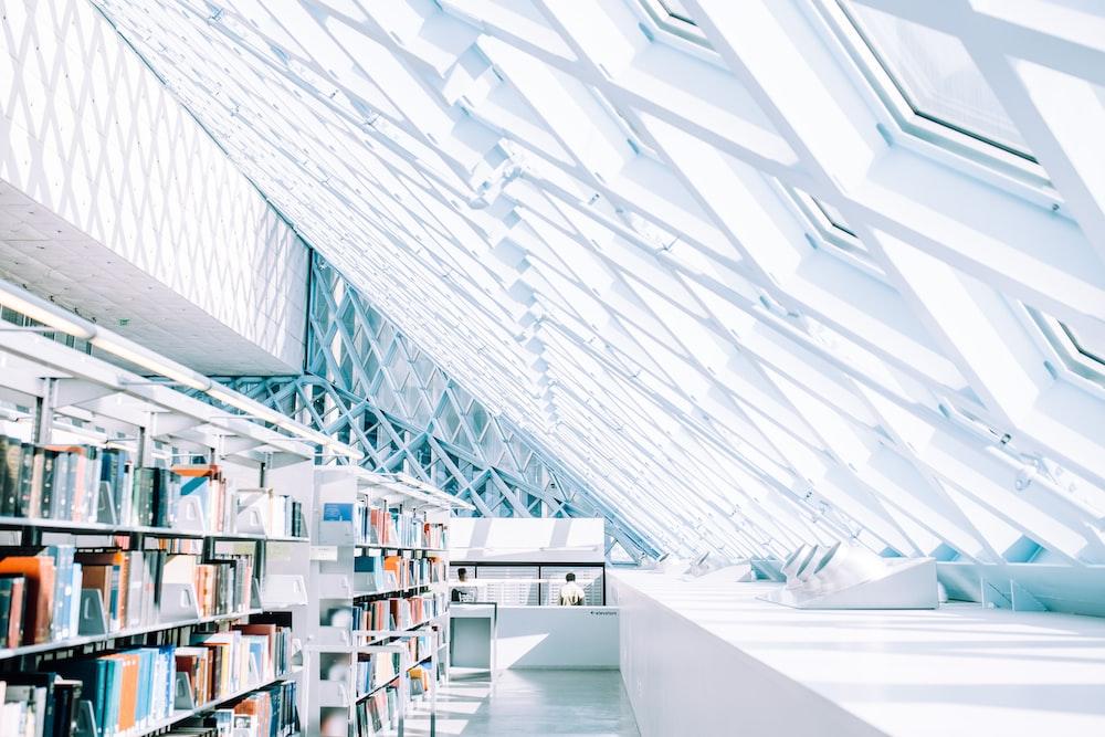 book lot on shelf