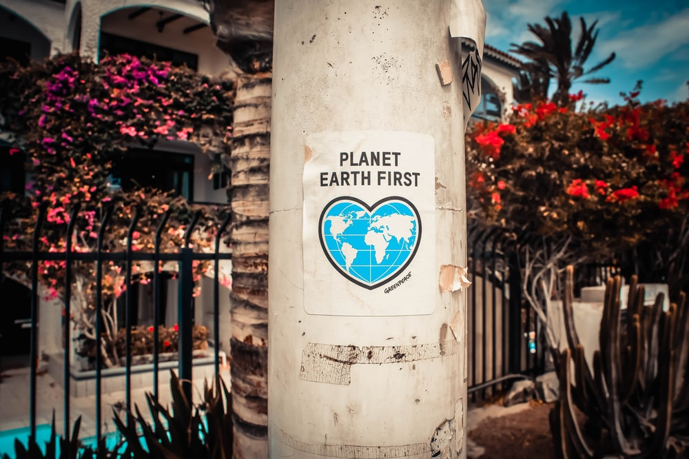 Planet Earth First signage sticked in gray post outdoors