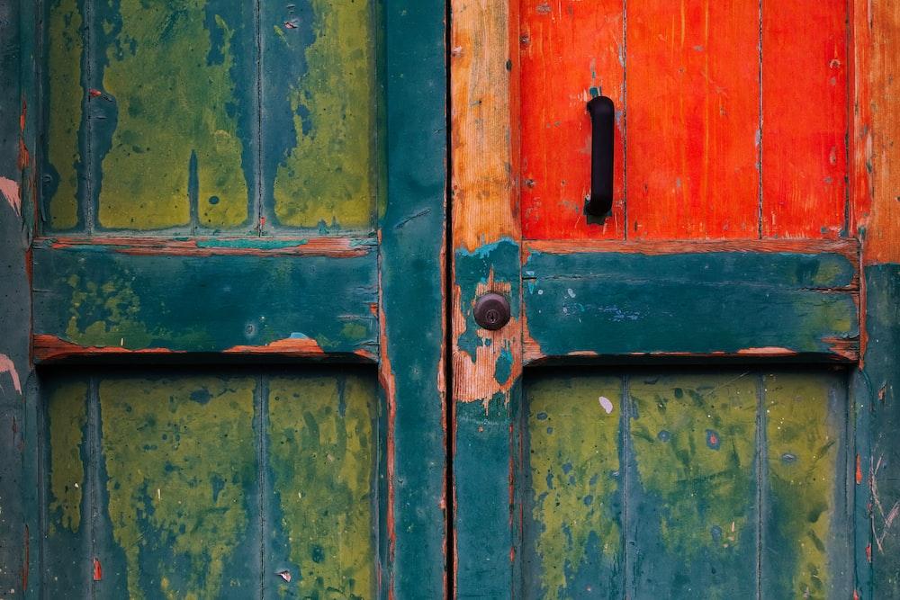 green and red wooden door