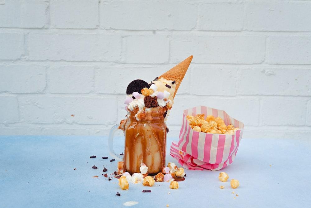 ice cream on glass Mason jar