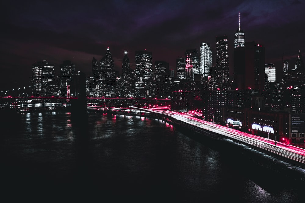 time lapse photography of city at night