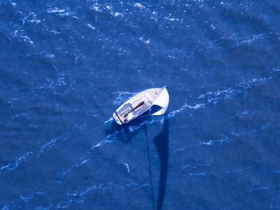 aerial view of boat sailing on blue ocean 49ers zoom background