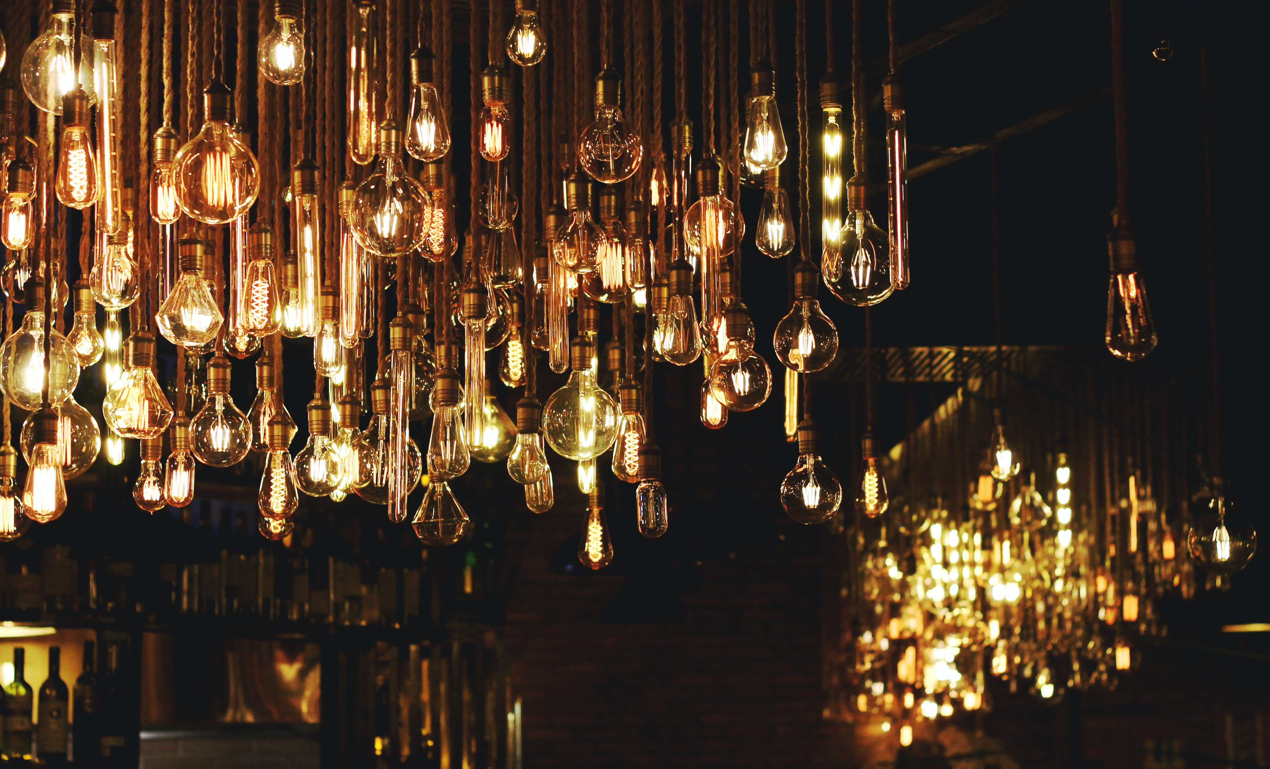 room full of pendant lamps