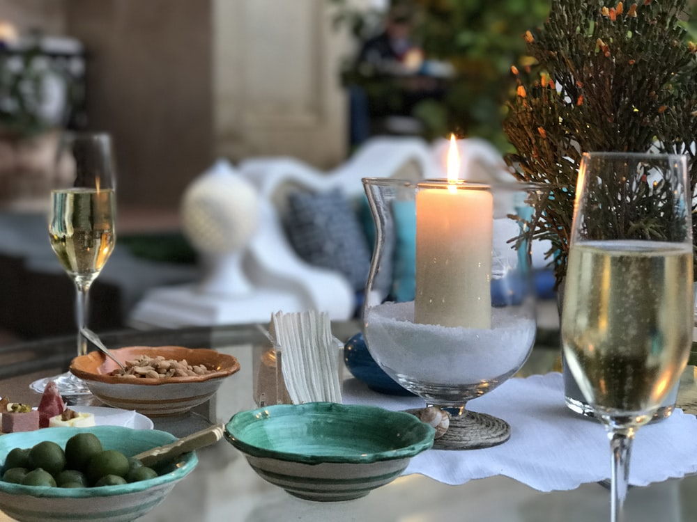 champagne flute on table