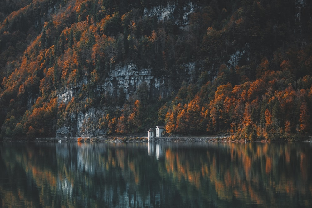 photo of mountain with body of water