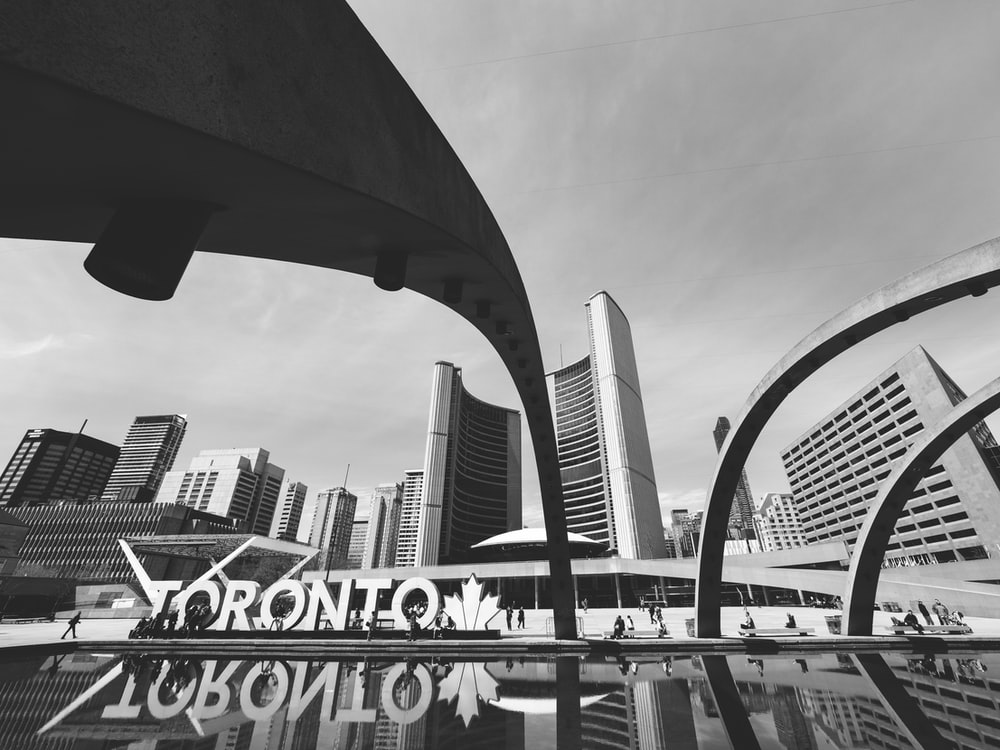grayscale photo of city