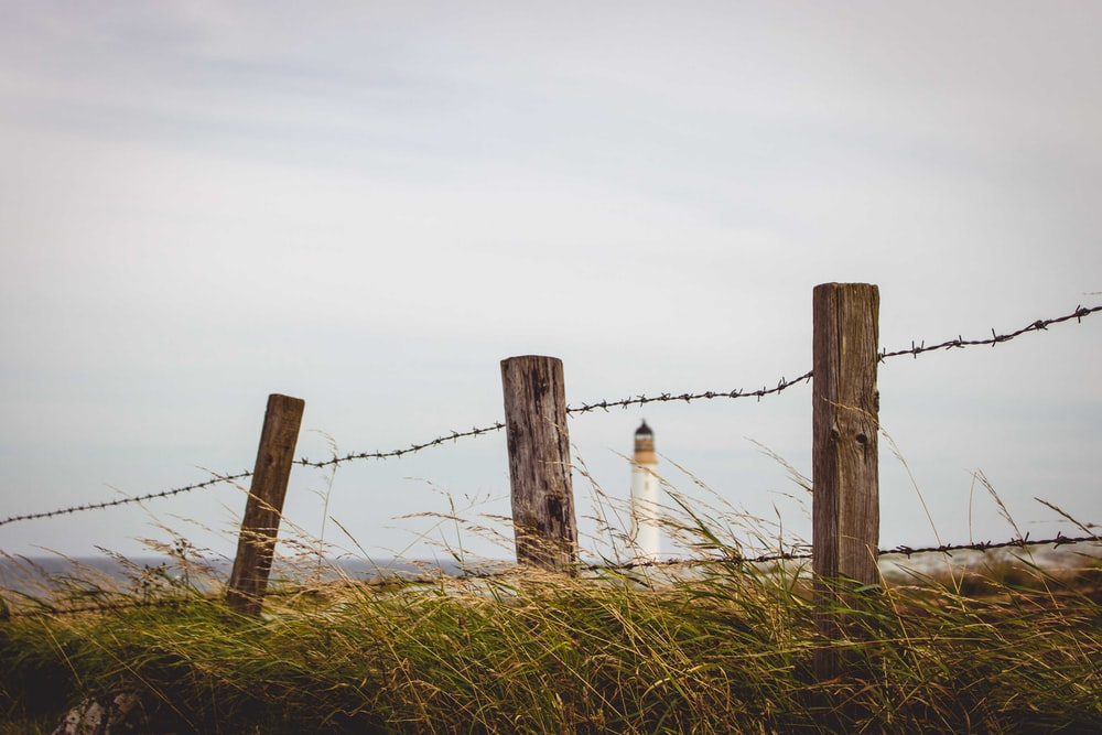 white lighthouse at distance