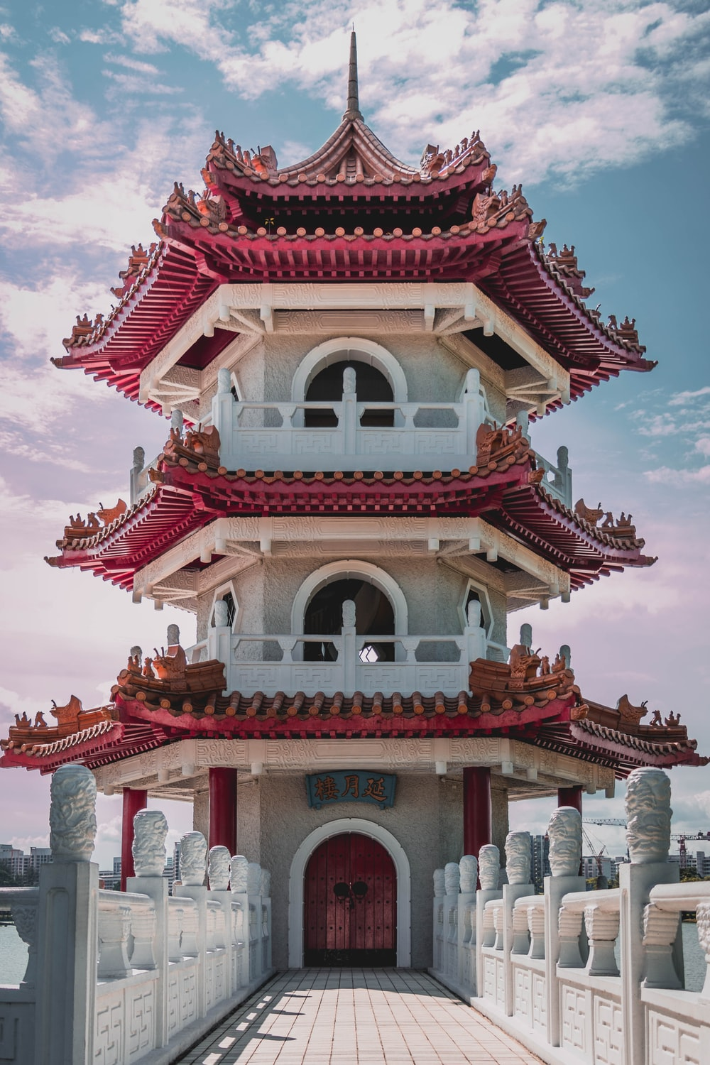 white and red wooden castle