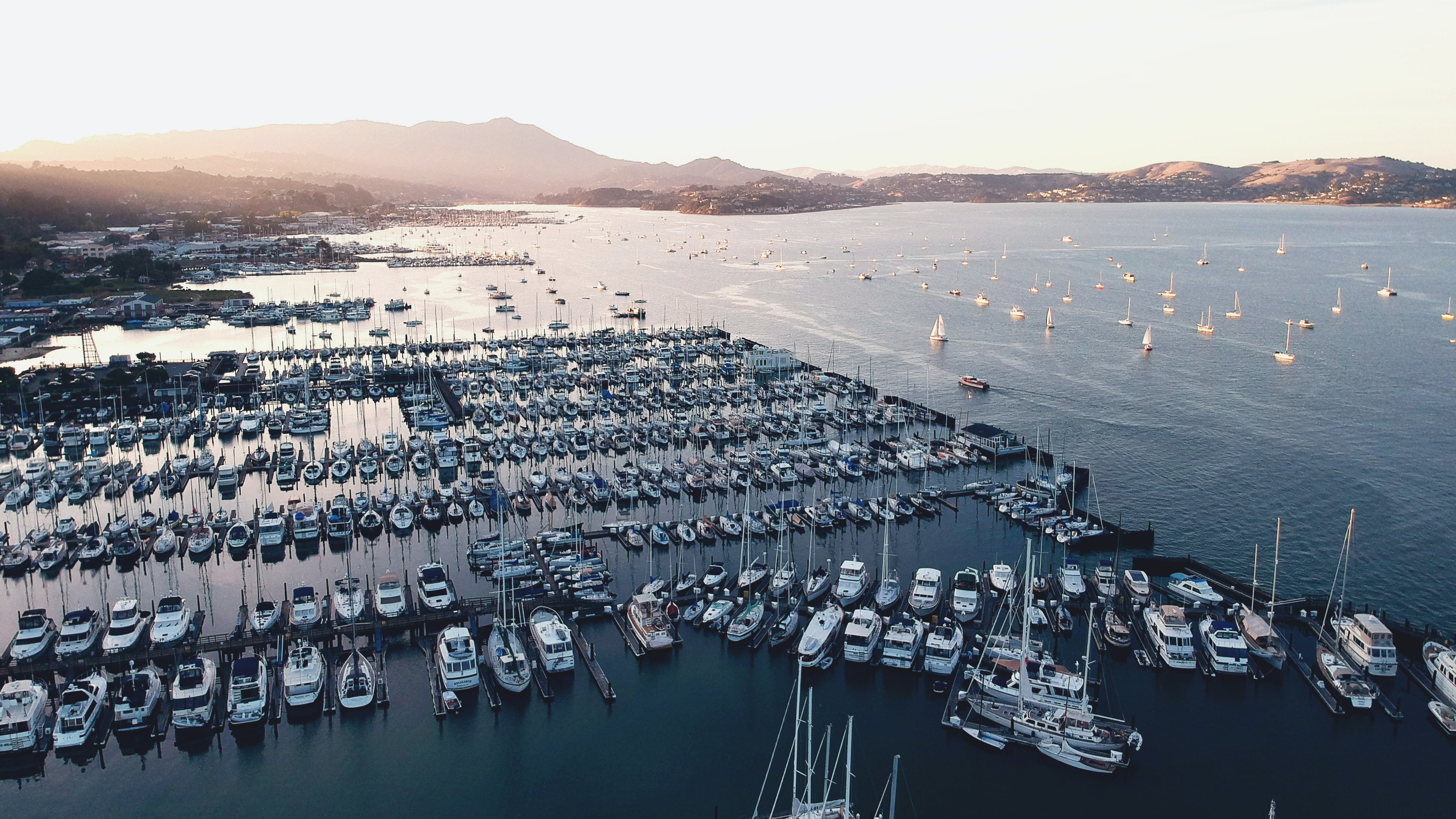 aerial photography of boats docked on water
