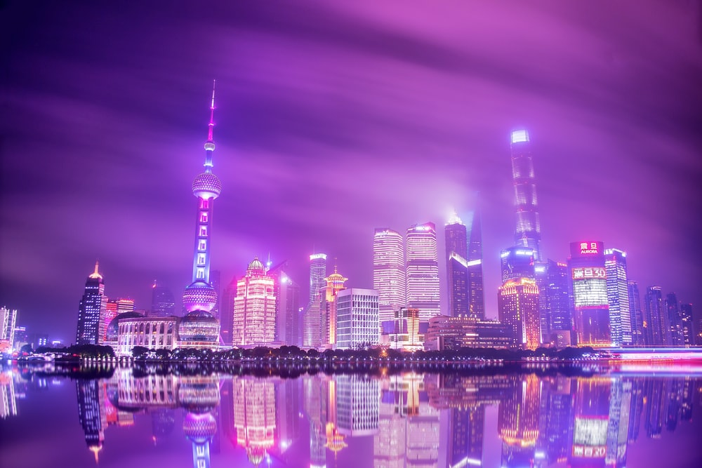 oriental pearl tower during nighttime