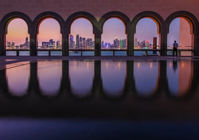 black concrete bridge qatar zoom background