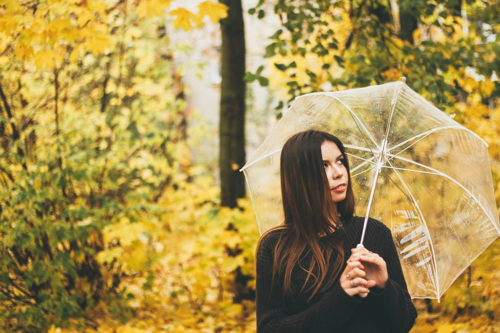 woman holding clear umbrella