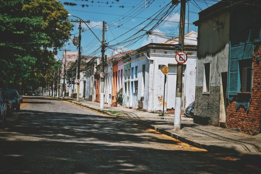 empty road with houses