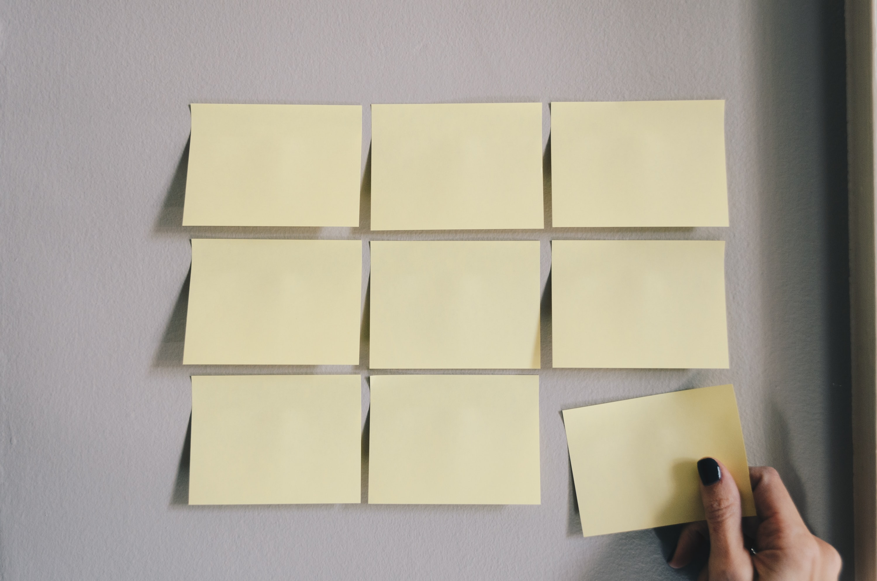 six white sticky notes