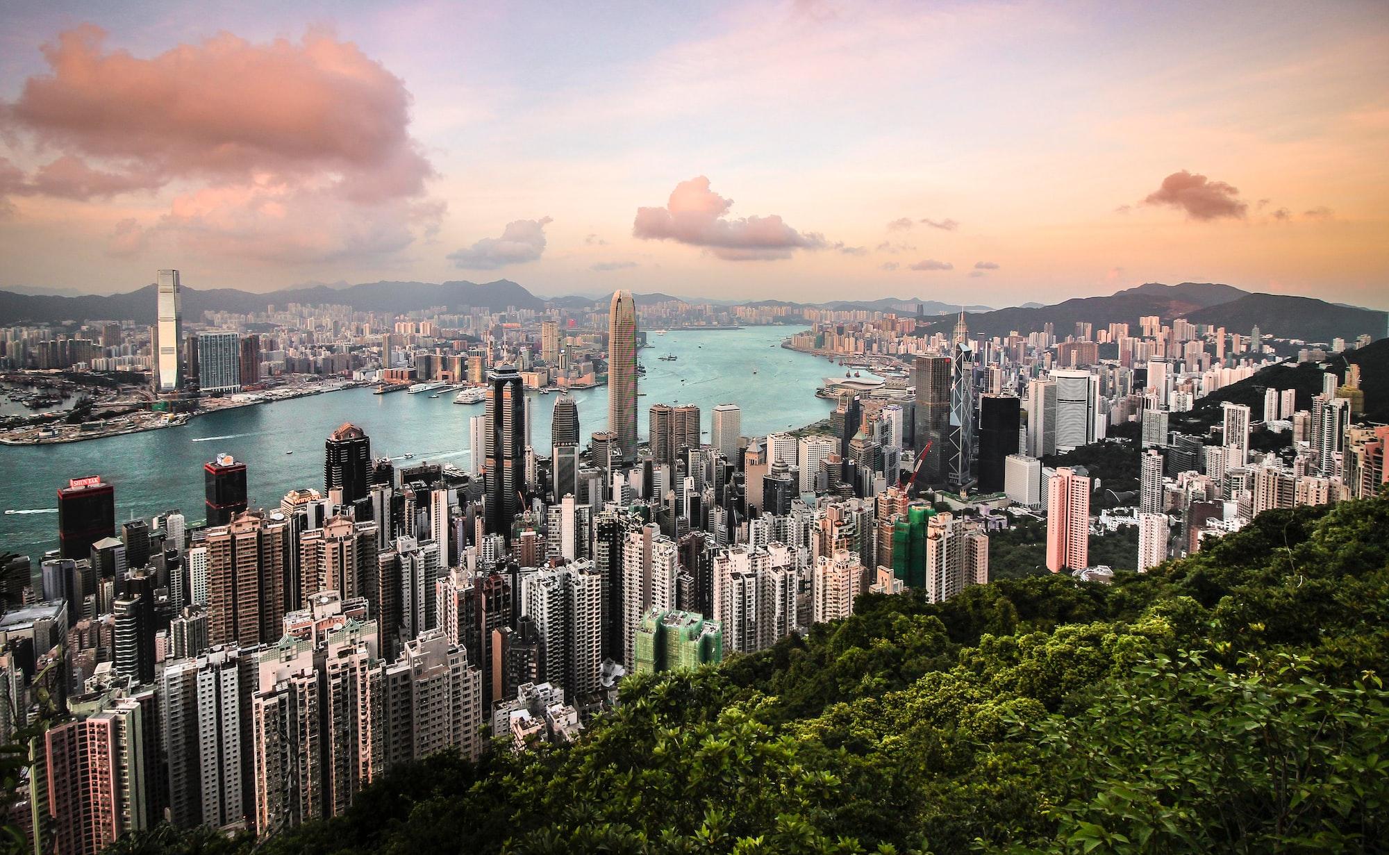 Hongkong skyline view from Victoria Peak