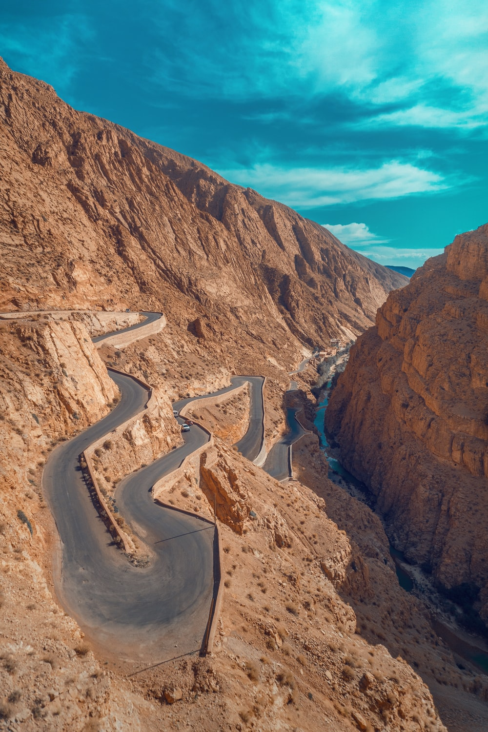 aerial photo of atlas mountains road (Travel Morocco)