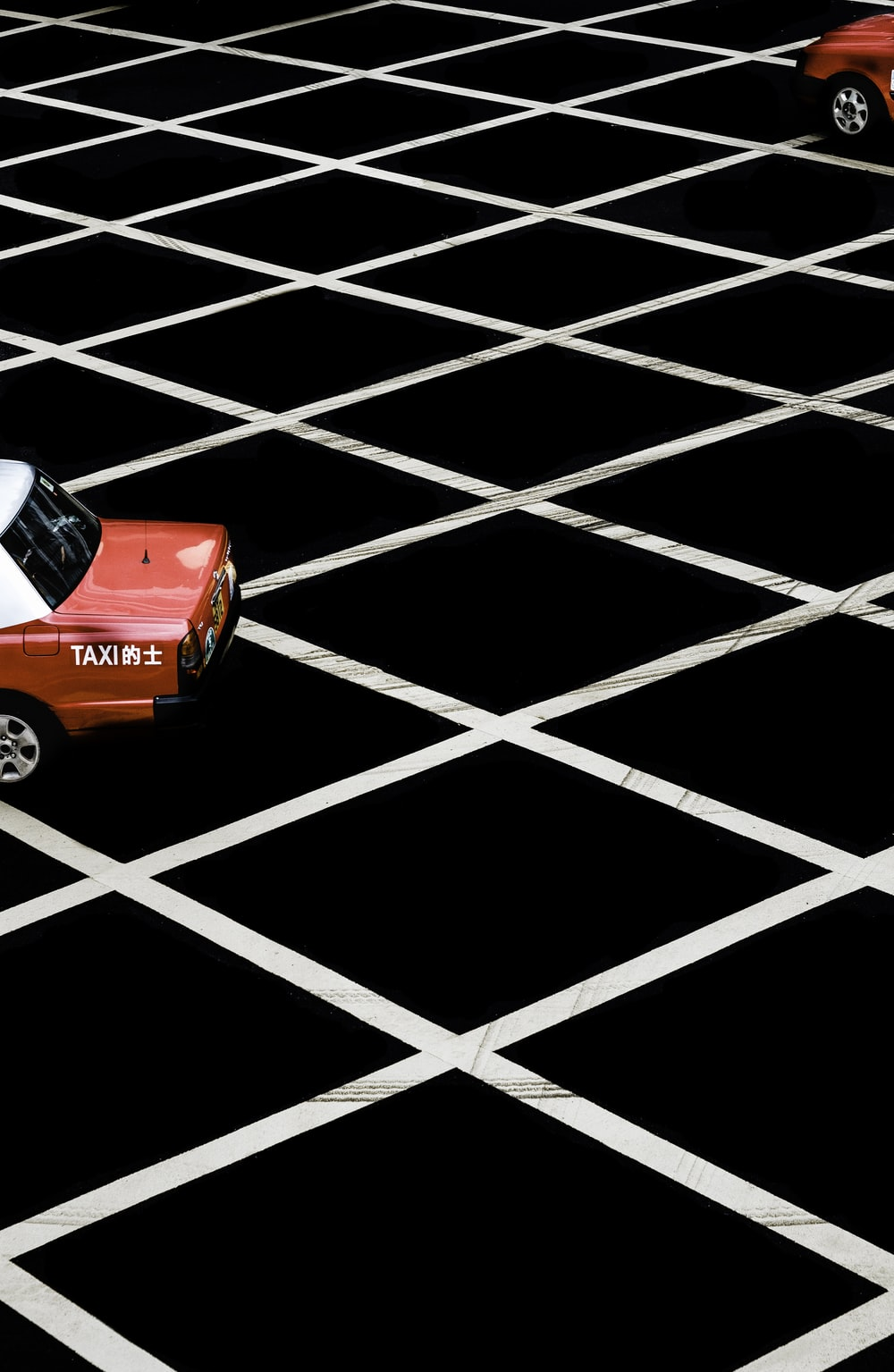 red taxi car
