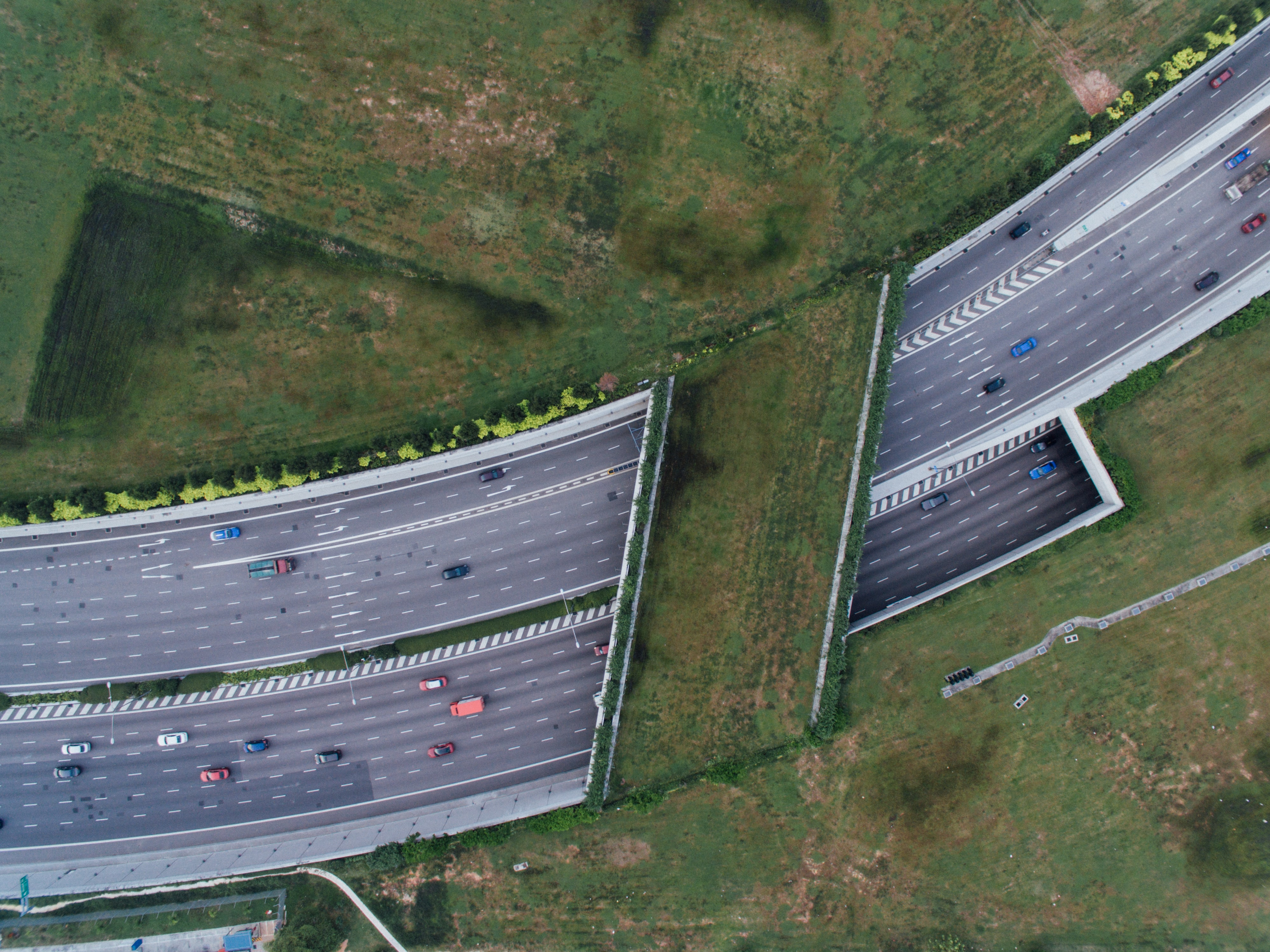 aerial view of cars on road during daytime