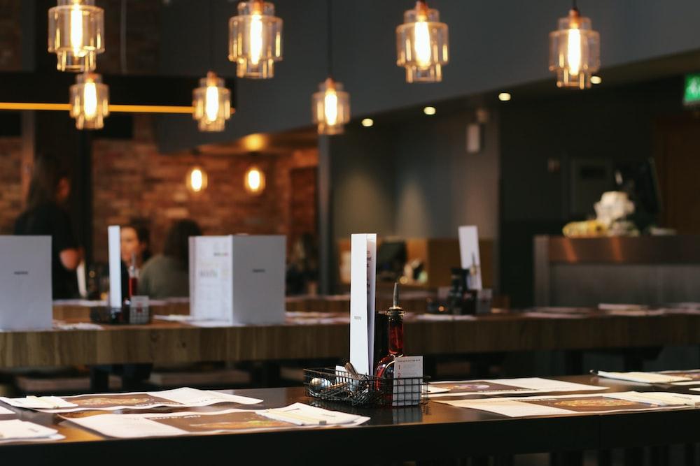 menu on brown table