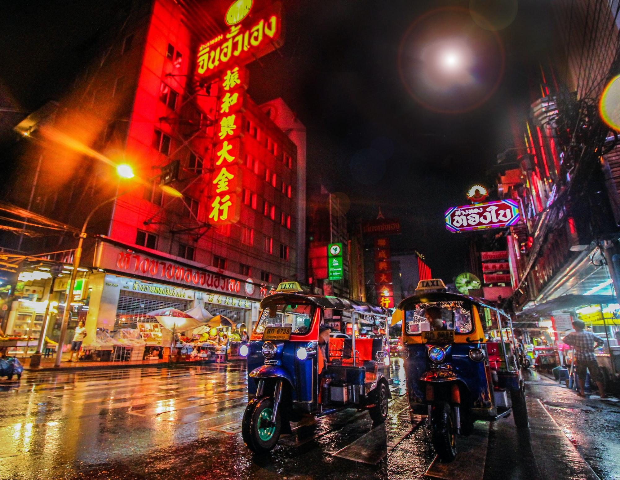 View of tuk-tuks in Bangkok's Chinatown
