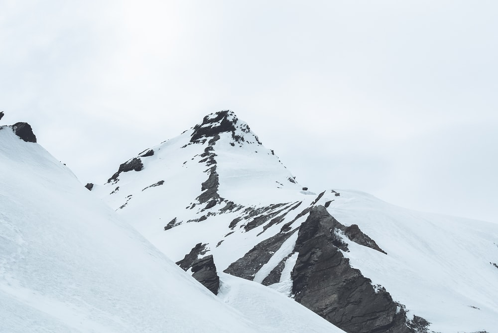 mountain peak covered with snow