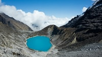 landscape photo of volcano crater
