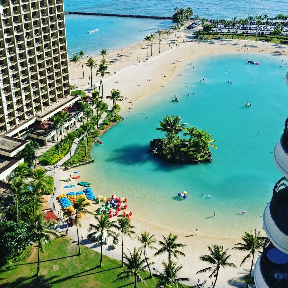 top view of resort near beach during daytime