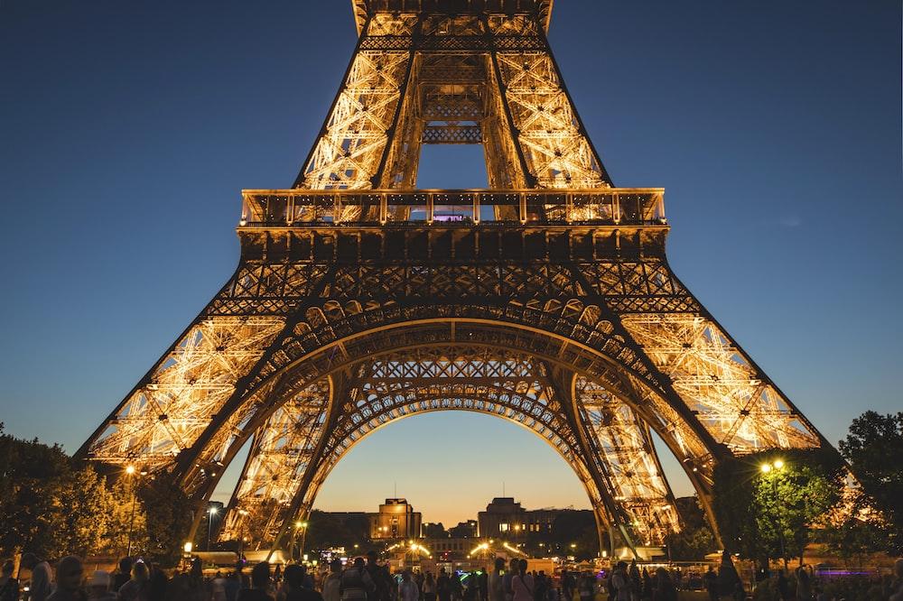low angle of Eiffel Tower, Paris under blue sky