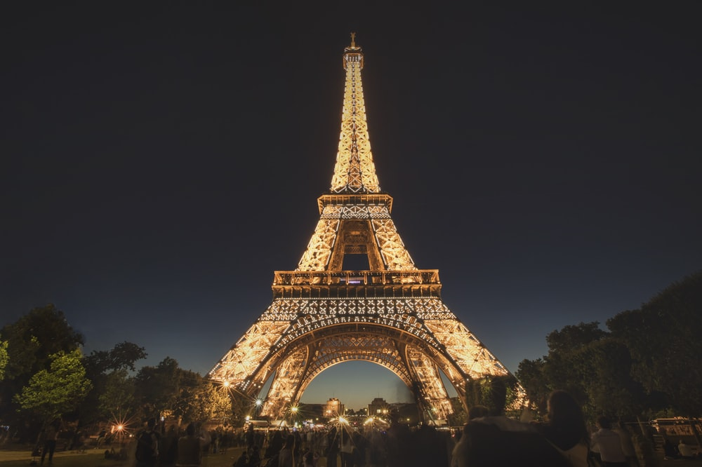 landscape photography of Eiffel Tower during nighttime