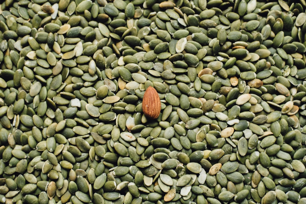 almond seed on top of green seeds