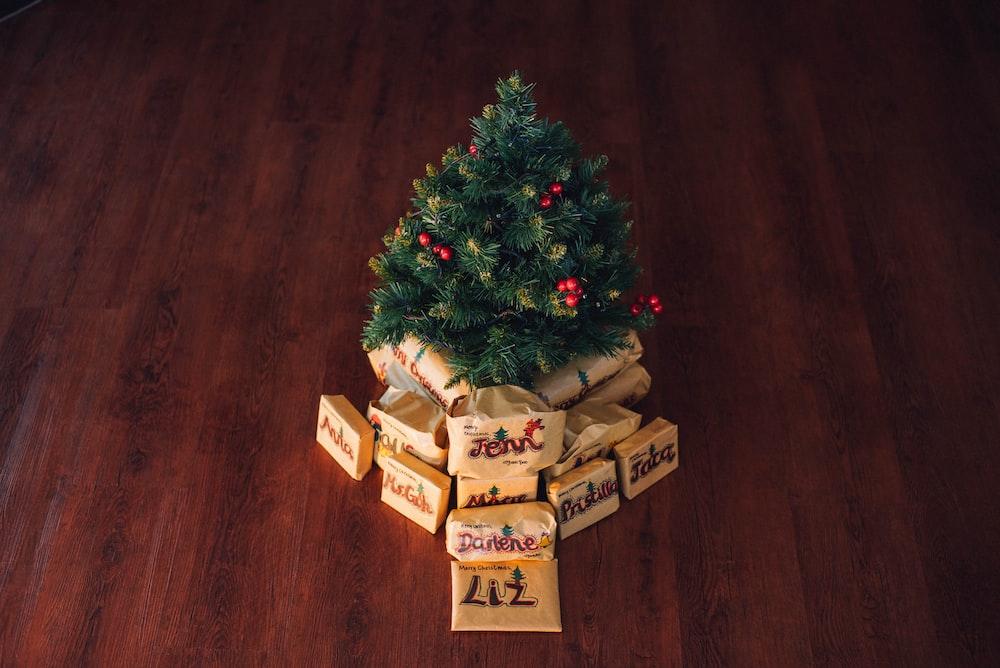 green Christmas tree decor