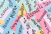assorted-color of name cards