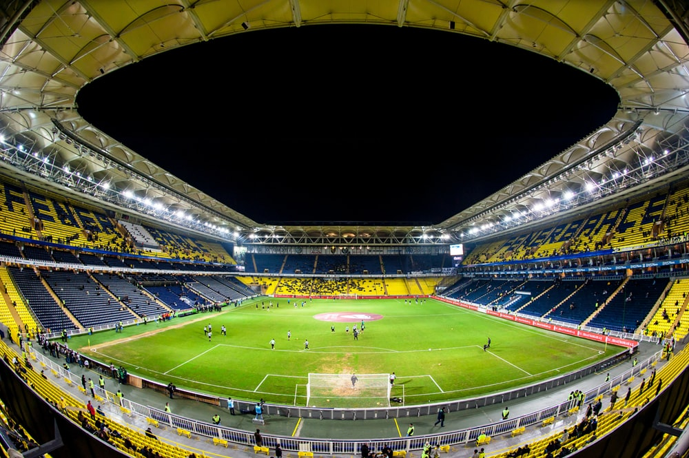fisheye photography of soccer game
