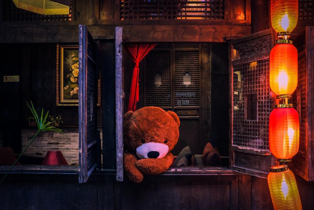 bear plush toy on window