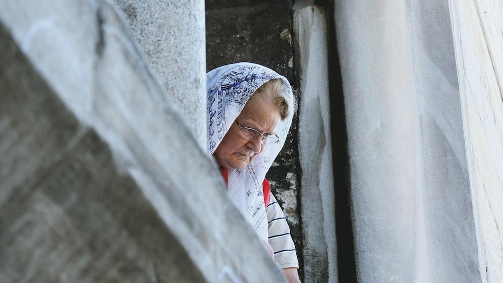 woman peeking on window