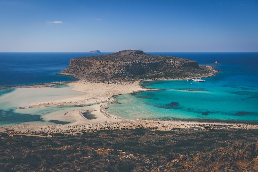 scenery of ocean near island