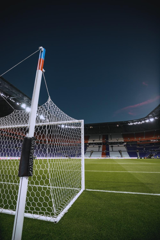 white steel soccer goal net