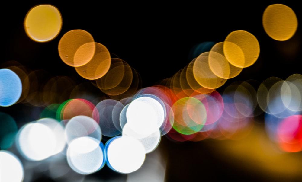 bokeh photography of street lights