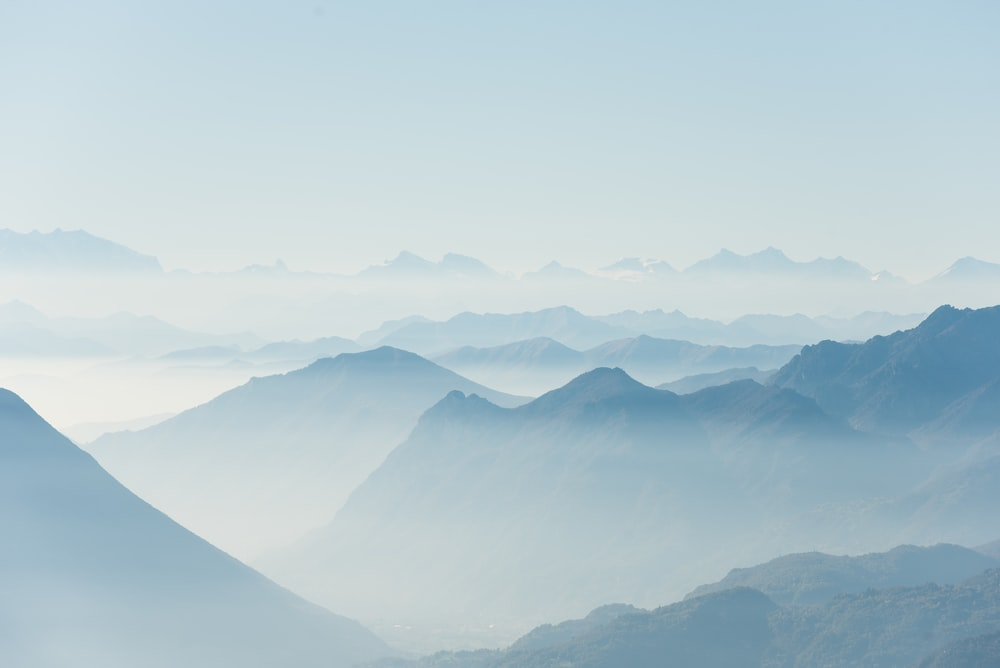mountains covered with fogs
