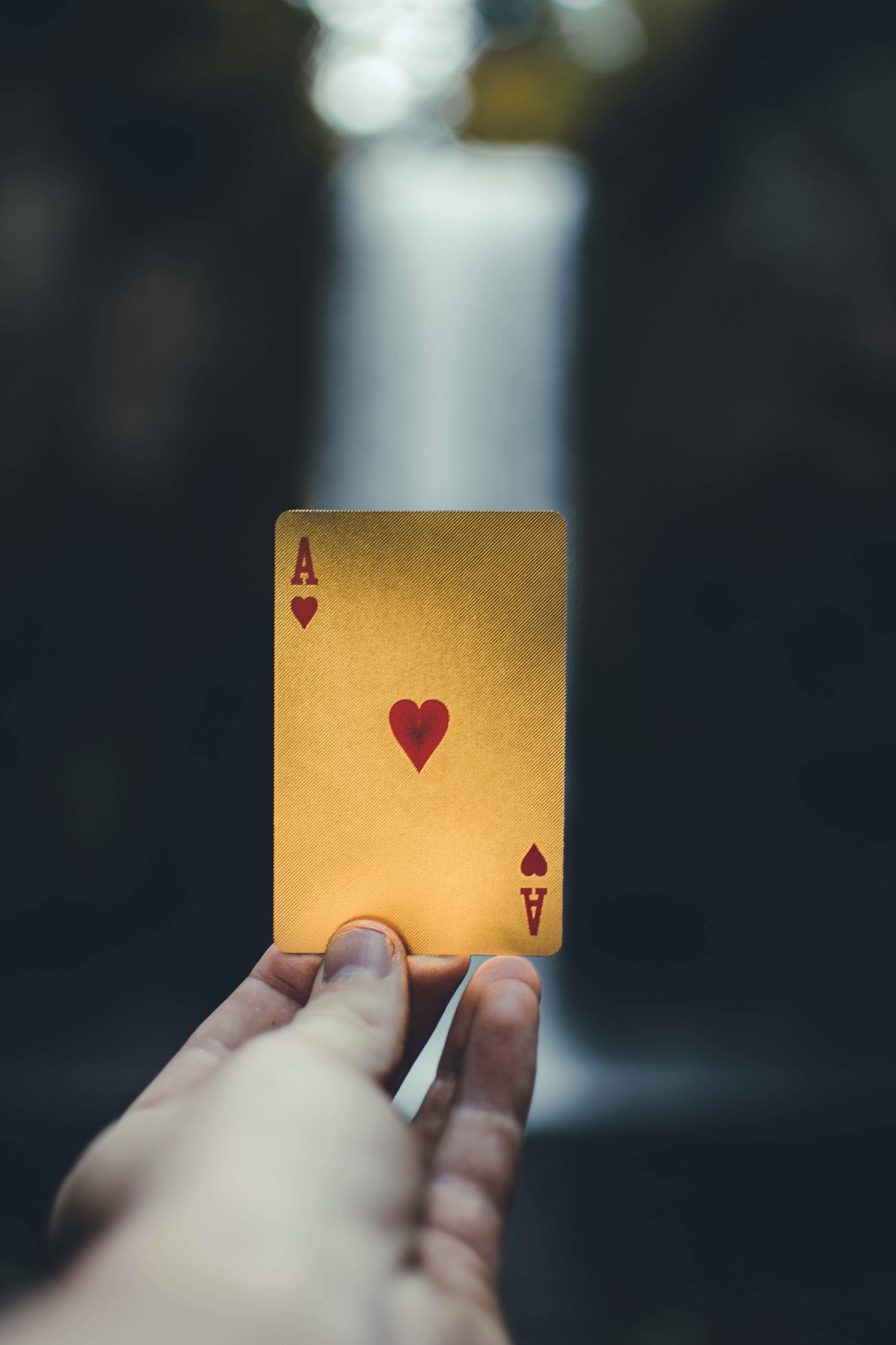 person holding ace of heart playing card