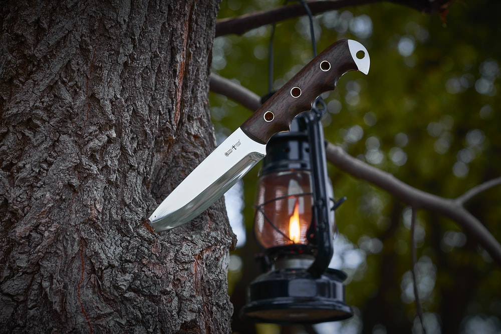combat knife on tree trunk