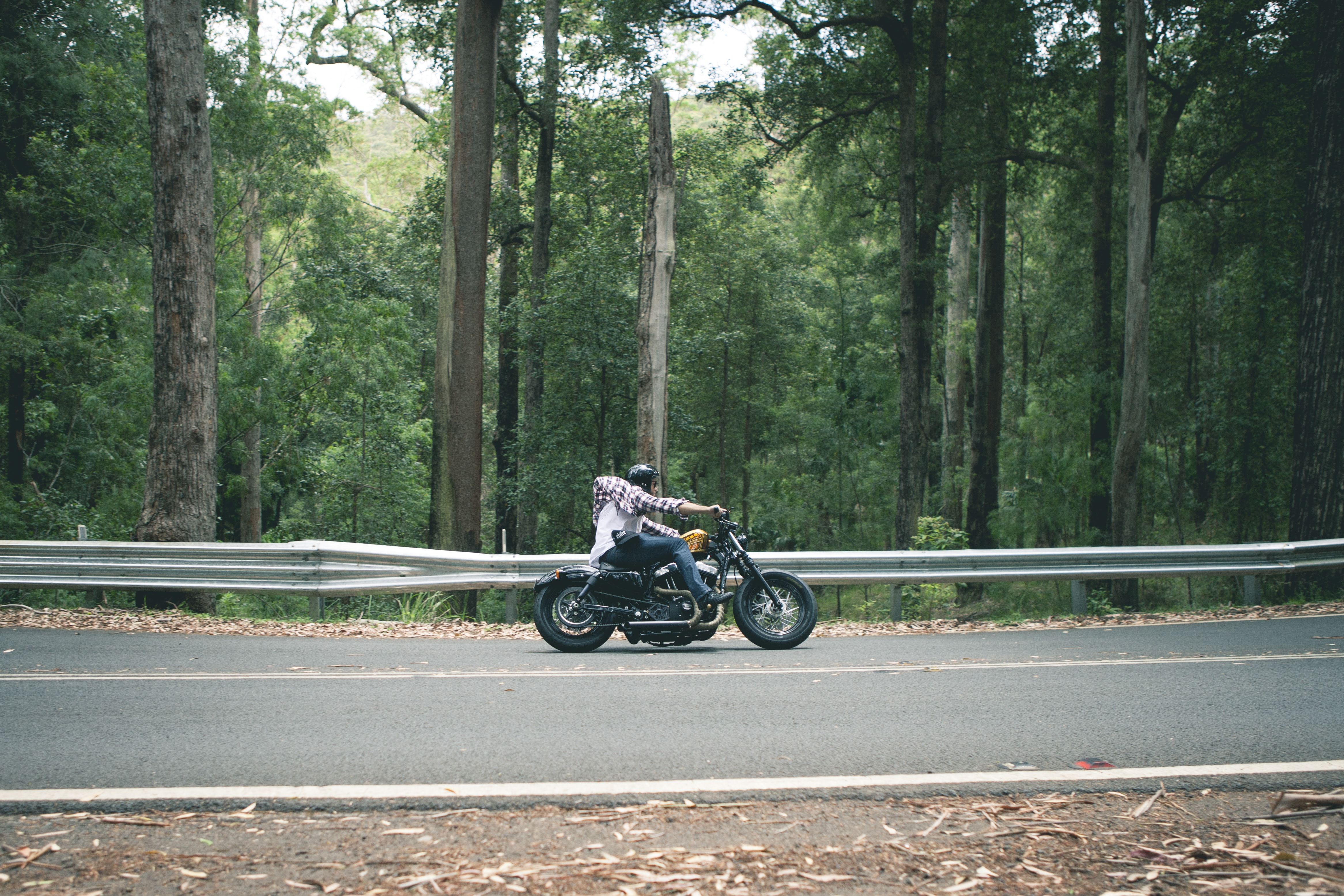 person riding motorcycle passing on road surround by trees