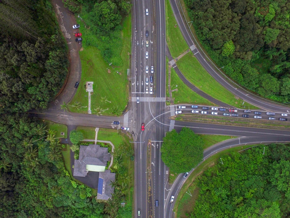 aerial view of gray pedestrian lane asphalt roads during daytime