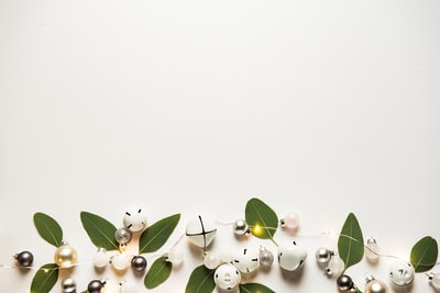 white baubles and sleigh bells holiday zoom background